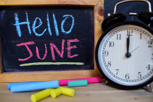 hello june. back to school concept. - june stock photos and pictures