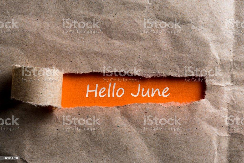Hej juni - text på trasiga bruna kuvert bakgrund - Royaltyfri Anteckningsblock Bildbanksbilder