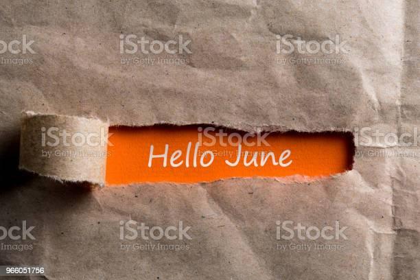 Hej Juni Text På Trasiga Bruna Kuvert Bakgrund-foton och fler bilder på Anteckningsblock