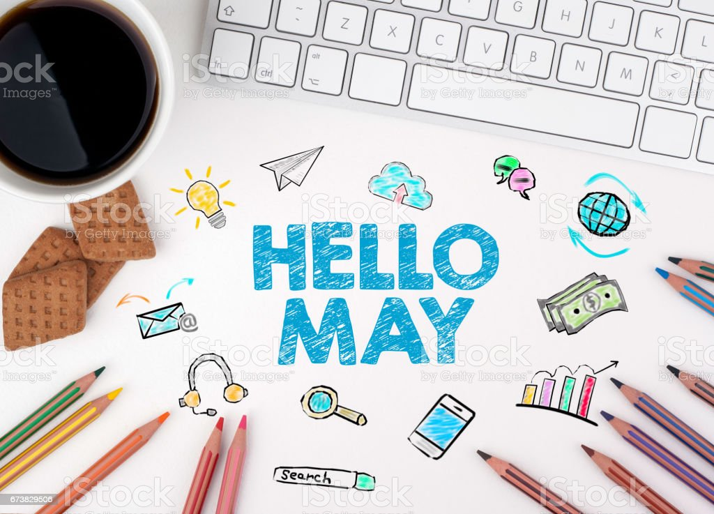 Hello May, Business concept. White office desk stock photo