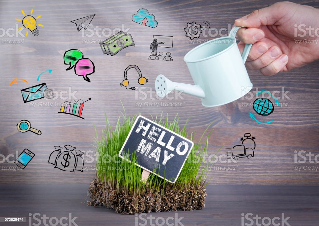 Hello May concept. Fresh and green grass on wood background stock photo