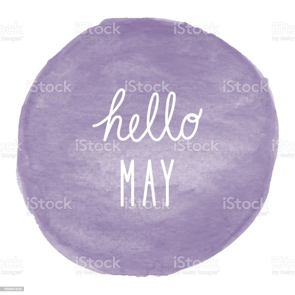 Hello May greeting on violet watercolor background foto stock royalty-free