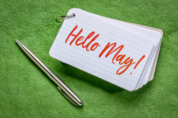 Hello May greetings on an index card stock photo
