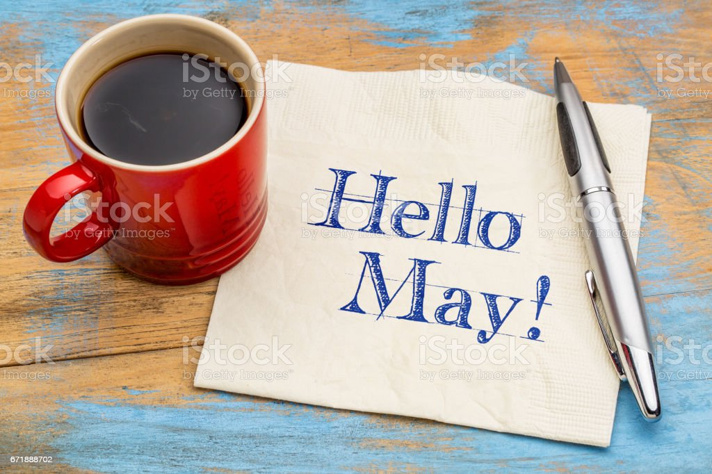 Hello May greetings on napkin stock photo
