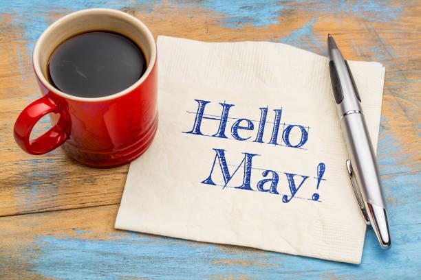 Hello May greetings on napkin stock photo