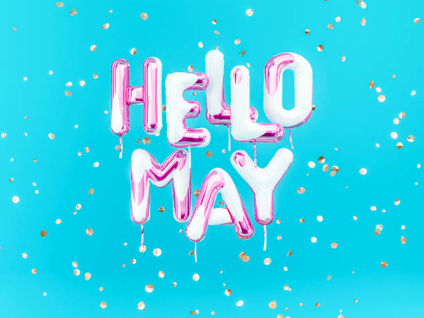 Hello May text banner, foil balloon letters stock photo