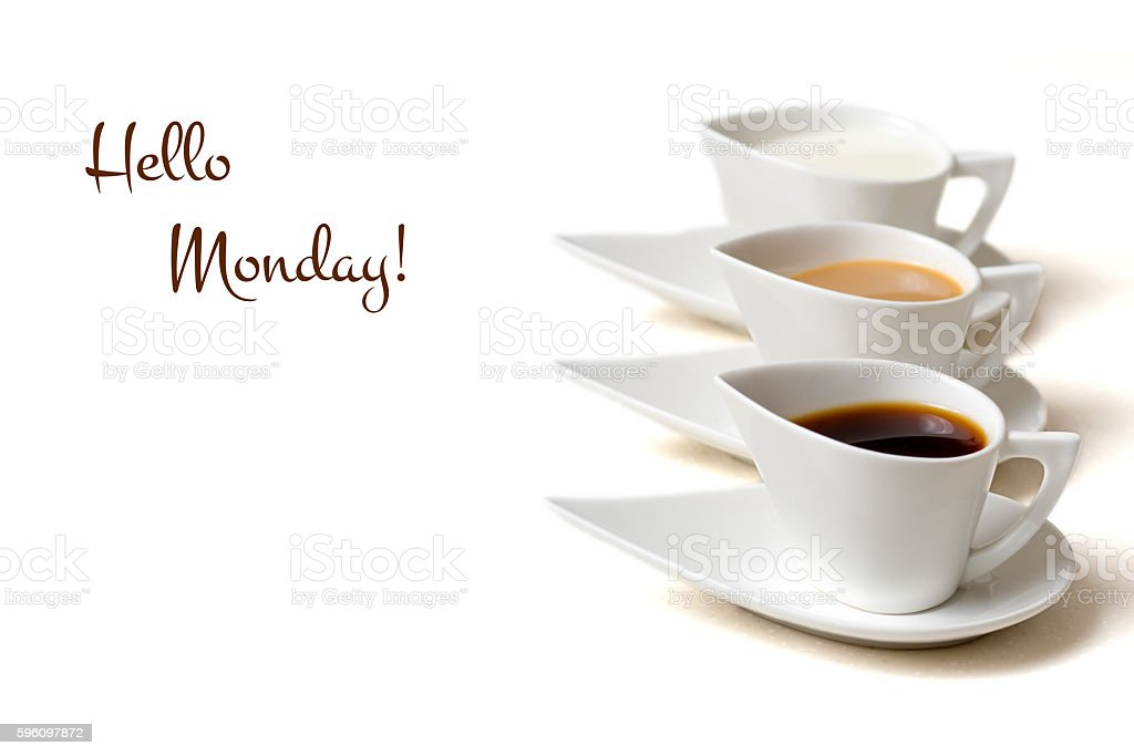 hello monday concept with three coffee cups royalty-free stock photo