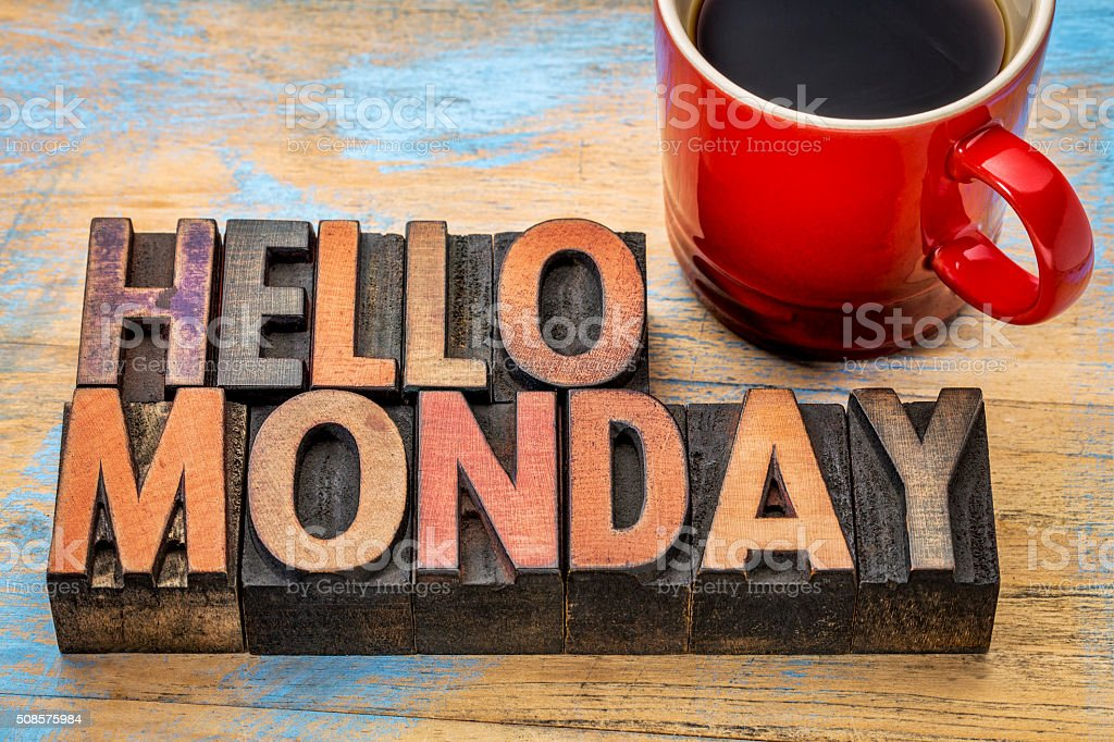 Hello Monday in wood type stock photo