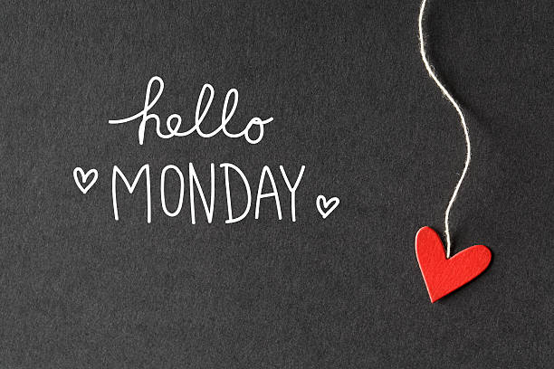 hello monday message with paper hearts - monday motivation stock photos and pictures