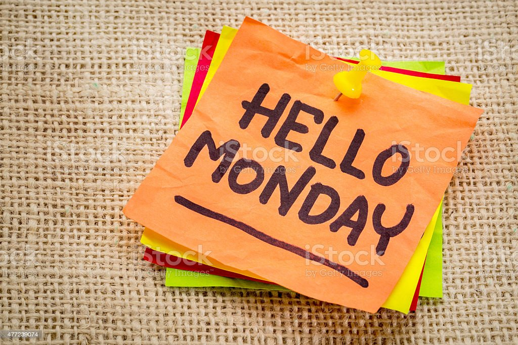 Hello Monday on sticky note stock photo