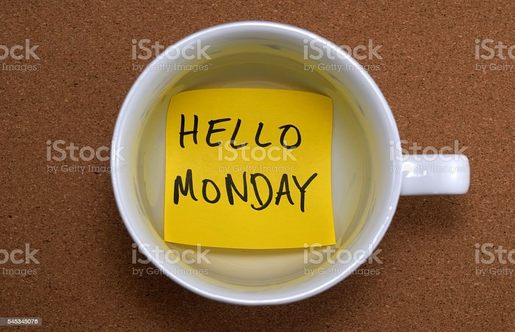 hello monday stock photo