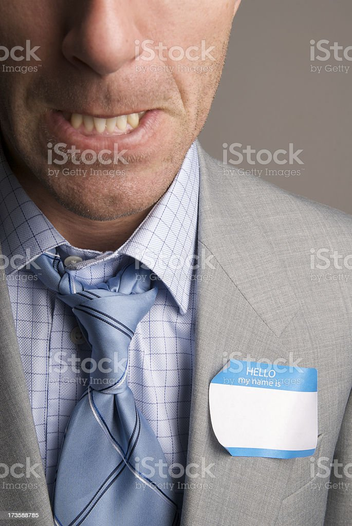 Hello My Name Is Angry stock photo