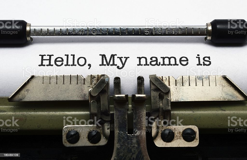 Hello, my name is in black ink on a vintage typewriter stock photo