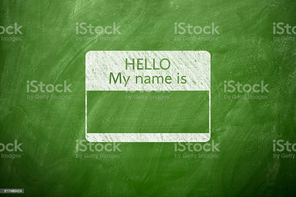 Hello my name is stock photo