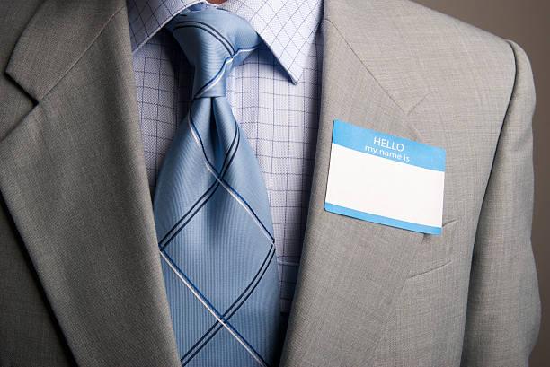 hallo, mein name ist anzug und krawatte - hello stock-fotos und bilder
