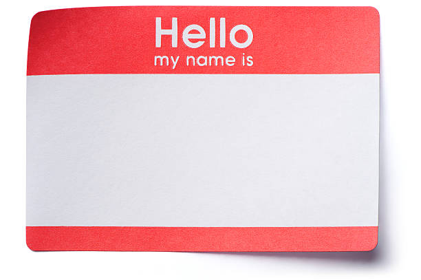 hello name tag sticker isolated on white background - identity stock photos and pictures