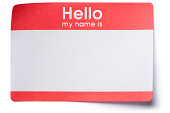 istock Hello Name Tag Sticker Isolated on White Background 186872806