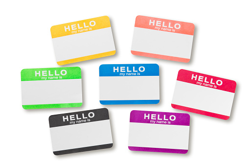Hello Name Tag Sticker with clipping path.