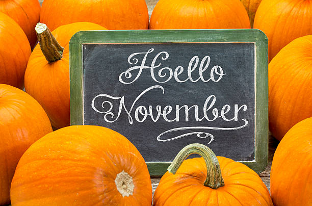 Hello November sign on blackboard stock photo
