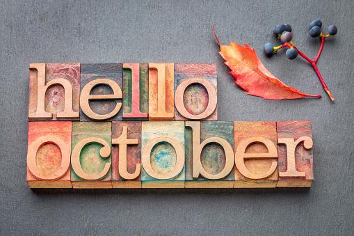 hello October greeting card - letterpress wood type blocks against gray slate stone