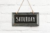 istock Hello Saturday finally weekend text on chalkboard 1044955668