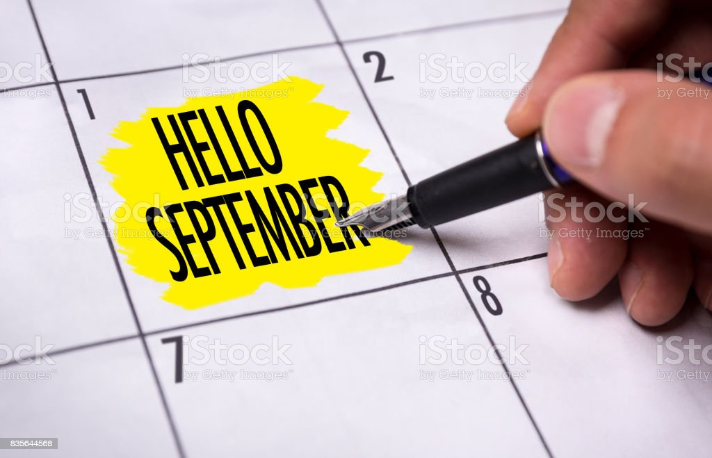 Hello September stock photo