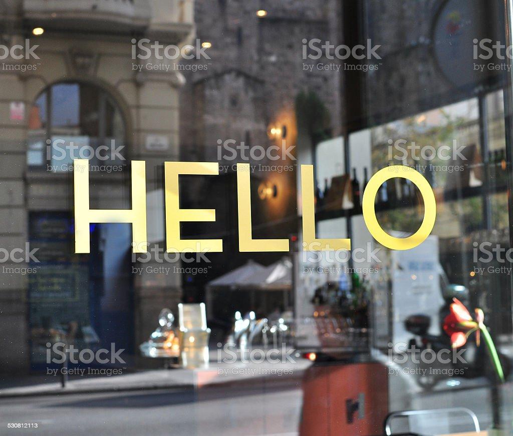 Hello sign stock photo