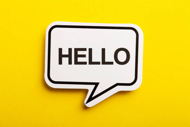 Hello Speech Bubble Isolated On Yellow Background