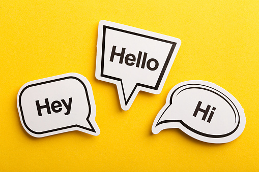Hello speech bubble isolated on the yellow background.