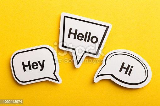 istock Hello Speech Bubble Isolated On Yellow Background 1092443974