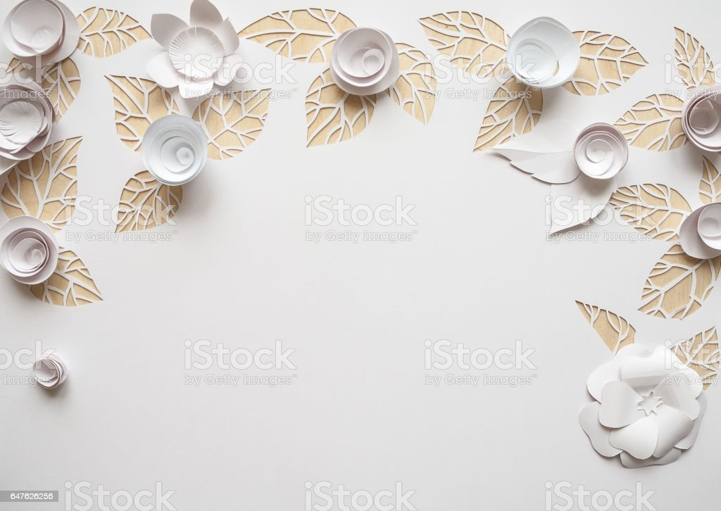 Hello, spring! White paper flowers stock photo