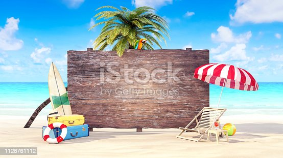 istock Hello Summer holiday background 3D Render 1128761112