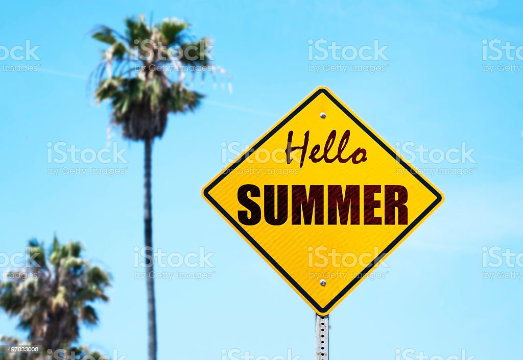 Hello Summer Sign stock photo