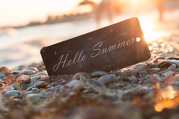 hallo sommer-text und sonnenuntergang am strand. - hello stock-fotos und bilder