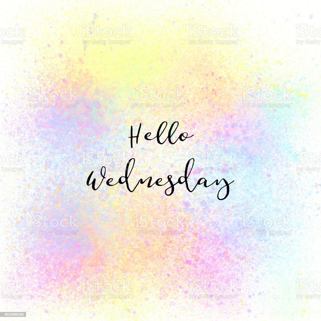 Hello wednesday on colorful spray paint background stock for Happy color spray paint price