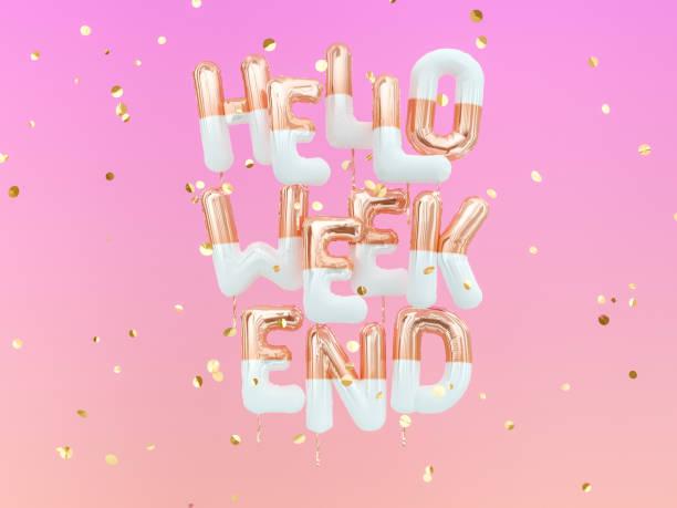 hallo am wochenende gold text auf rosa girly hintergrund, kreative coole banner 3d-rendering - zitate weihnachten stock-fotos und bilder