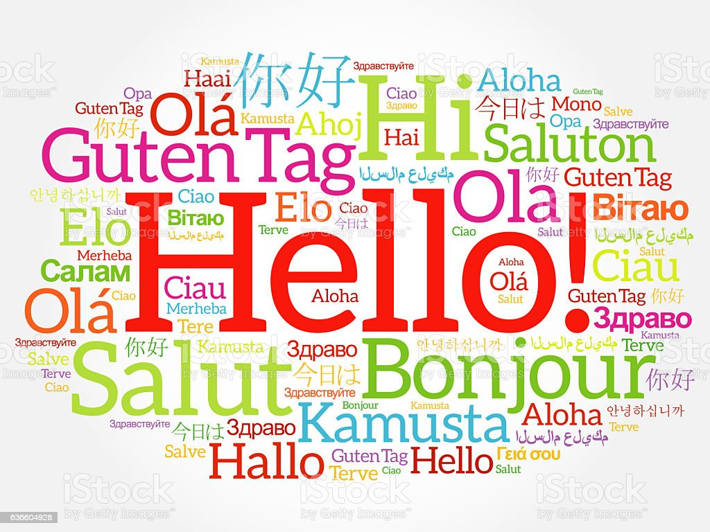 Hello word cloud collage in different languages stock photo