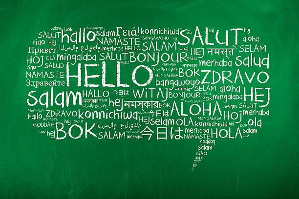 hello word cloud in speech bubble - translator stock photos and pictures