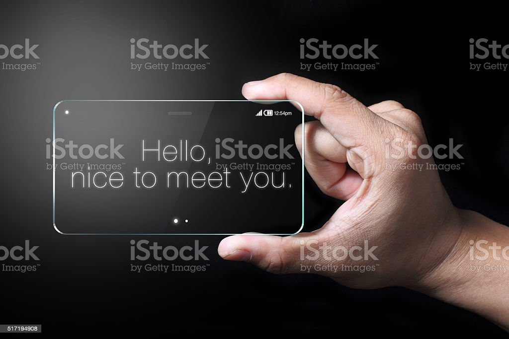 Hello wordings on transparent smartphone stock photo