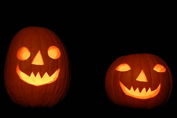 Helloween pumpkin couple stock photo