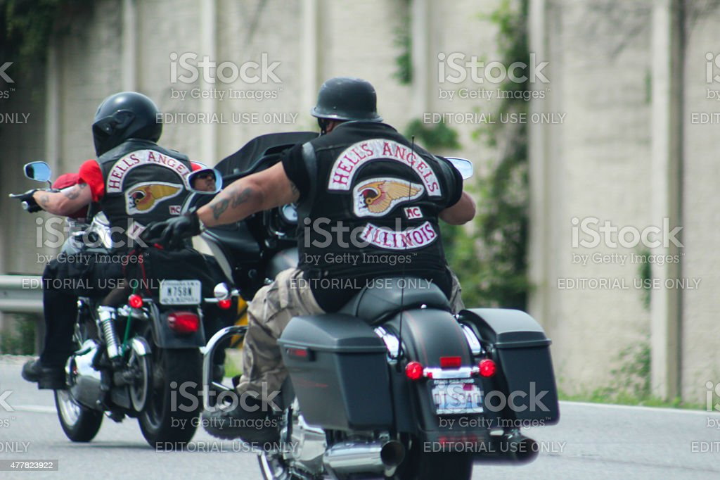 Hells Angels Riding Motorcycles On Interstate 294 South