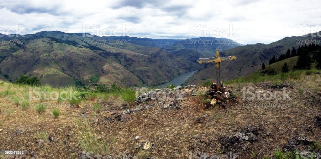 Hells Canyon and Cross from Kleinschmidt Grade stock photo