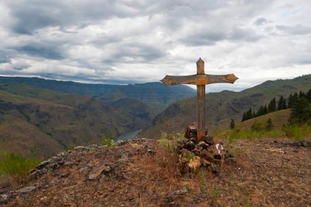 Hells Canyon e Cruz da série Kleinschmidt - foto de acervo