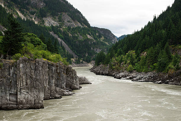 Hells Gate in Fraser Canyon River and Canadian Railway stock photo