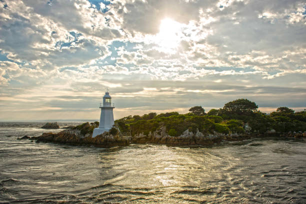 hells gates lighthouse. - tasmania stock pictures, royalty-free photos & images