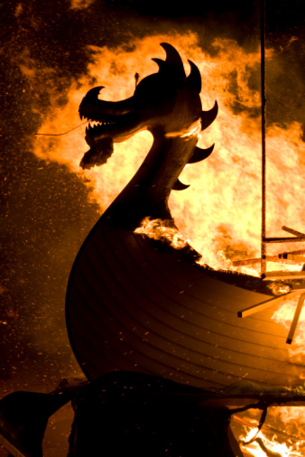 Up Helly Aa Burning Viking Ship Stock Photo - Download Image Now