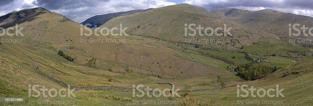 Helm Crag Panoramic stock photo