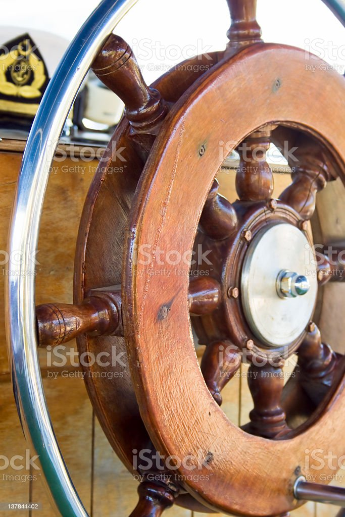 Helm on a sailboat royalty-free stock photo