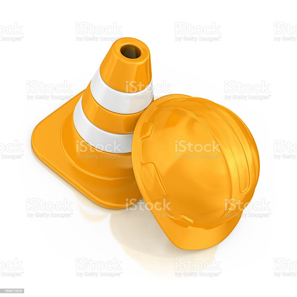 helmet and traffic cone royalty-free stock photo