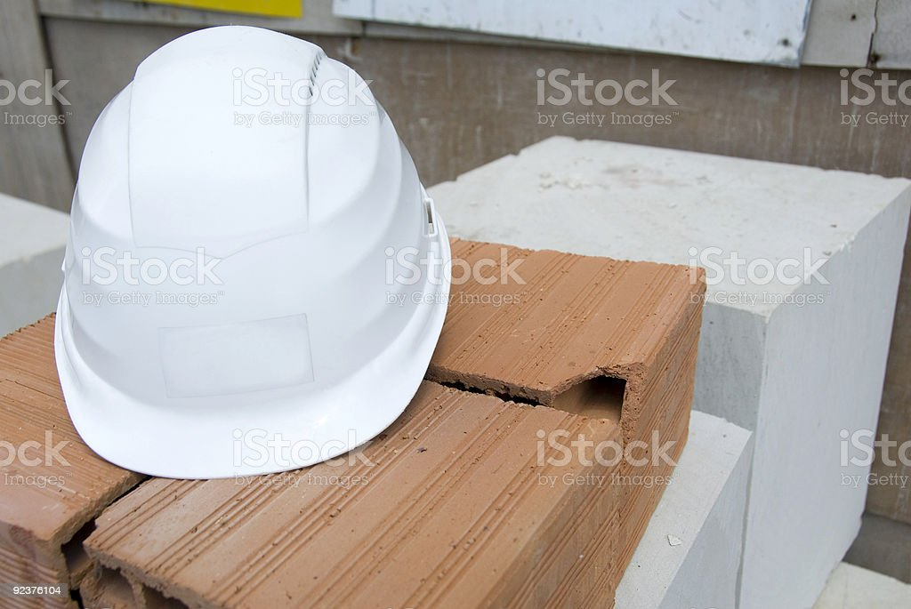 helmet at the construction site royalty-free stock photo